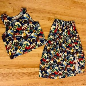 Plus Size Vintage Top and Maxi Skirt Set